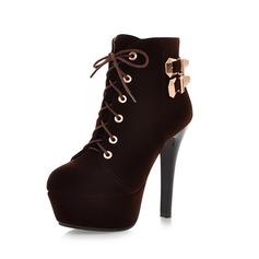 Femmes Suède Talon stiletto Plateforme Bottines avec Boucle chaussures