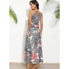 Print Sleeveless A-line Skater Casual/Boho/Vacation Maxi Dresses