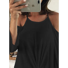 Solid Cold Shoulder Long Sleeves Casual Knit T-shirt
