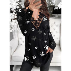 Animal Print Lace V-Neck Long Sleeves Elegant Blouses