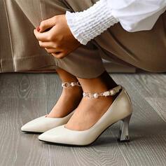 Mulheres PU Salto robusto Bombas com Strass Beading Fivela sapatos
