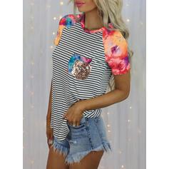 Print Striped Tie Dye Round Neck Short Sleeves T-shirts