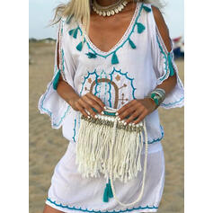 Print 1/2 Sleeves/Cold Shoulder Sleeve Sheath Above Knee Casual/Boho/Vacation Dresses