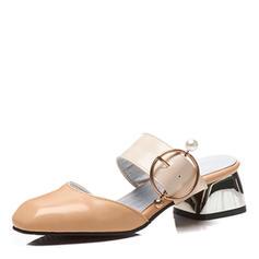 Femmes Similicuir Talon bottier Sandales Escarpins Bout fermé Escarpins avec Boucle chaussures