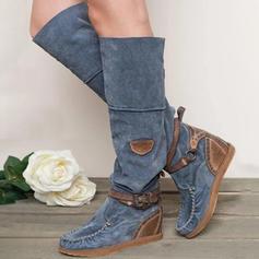 Vrouwen Suede Flat Heel Knie Lengte Laarzen met Gesp schoenen