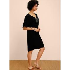 Couleur Unie Manches 1/2 Droite Longueur Genou Petites Robes Noires/Décontractée Robes