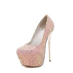 Women's Sparkling Glitter Stiletto Heel Pumps Platform Closed Toe shoes