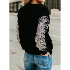 Print Sequins Figure Round Neck Long Sleeves Sweatshirt
