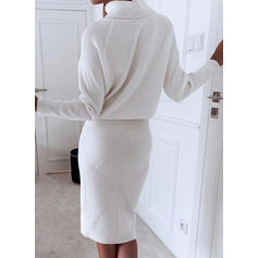 Solid Long Sleeves Sheath Knee Length Casual Dresses