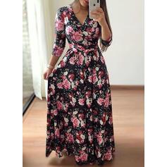 Estampado/Floral Manga 3/4 Evasê Casual/Elegante/Tamanho positivo Maxi Vestidos