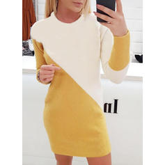 Color Block Chunky knit Round Neck Casual Long Sweaters