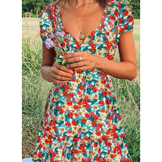 Print/Floral Short Sleeves A-line Knee Length Casual Skater Dresses