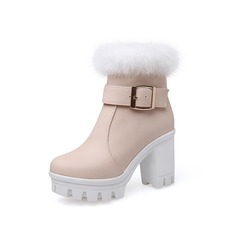Women's Leatherette Chunky Heel Platform Ankle Boots With Buckle Fur shoes
