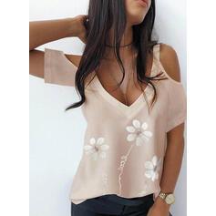Print Floral Sequins Figure Cold Shoulder Short Sleeves Casual Blouses