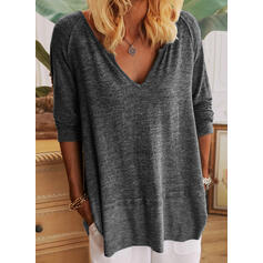 Solid V-Neck Long Sleeves Casual Basic T-shirts