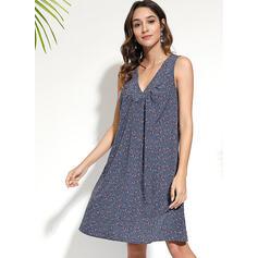 Print Sleeveless Shift Knee Length Casual/Boho/Vacation Dresses