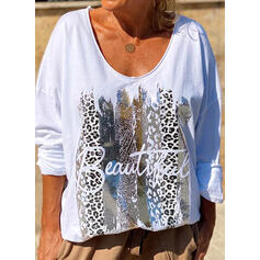 Print Leopard Figure Round Neck Long Sleeves Casual T-shirts