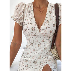 Print/Floral Short Sleeves/Puff Sleeves Sheath Above Knee Casual/Vacation Dresses