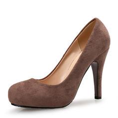Women's Suede Stiletto Heel Pumps Platform Closed Toe shoes