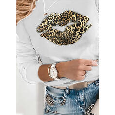 Print Leopard Round Neck Puff Sleeves Long Sleeves Casual Blouses