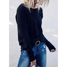 Düz / Tek (Renk) Yuvarlak Yaka Uzun kollu Günlük Alap Pólók