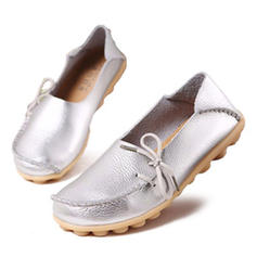 Frauen Echtleder Flascher Absatz Flache Schuhe mit Bowknot Schuhe