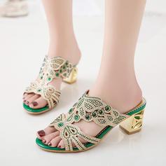 De mujer PU Tacón ancho Sandalias Salón Encaje con Rhinestone Perlas de imitación Tacones con joya zapatos