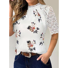 Print Floral Lace Round Neck 1/2 Sleeves Casual Blouses