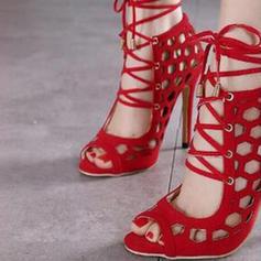 Kvinder PU Stiletto Hæl sandaler Pumps Kigge Tå med Blondér Udhul sko