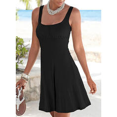 Solid Sleeveless Sheath Above Knee Little Black/Casual/Vacation Tank Dresses