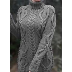 Jednobarevné Copánkový vzor Hrubá pletenina Rolák Neformální Dlouhé Svetrové šaty