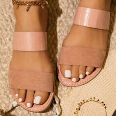 Femmes Similicuir Talon plat Sandales Chaussures plates À bout ouvert Escarpins Chaussons avec Semelle chaussures
