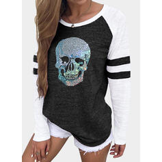 Sequins Round Neck Long Sleeves T-shirts