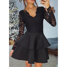 Lace/Solid Long Sleeves A-line Above Knee Party Dresses