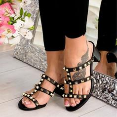 Women's PU Chunky Heel Sandals Peep Toe Slippers With Rivet shoes