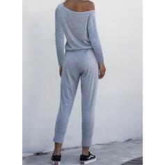 Einfarbig Eine-Schulter Lange Ärmel Lässige Kleidung Overall