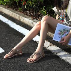 Dla kobiet PU Płaski Obcas Sandały Otwarty Nosek Buta Z Stras/ Krysztal Górski obuwie