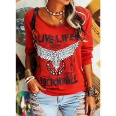 Animal Print Figure Round Neck Long Sleeves T-shirts