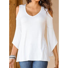 Solide Cold Shoulder Flare Mouw 3/4 Mouwen Casual T-shirts