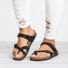 Kvinder PU Flad Hæl sandaler Fladsko Flip Floppere med Spænde sko