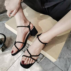 Women's Velvet Chunky Heel Sandals Pumps With Buckle shoes
