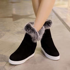 Women's Suede Wedge Heel Pumps Wedges Mid-Calf Boots With Faux-Fur shoes