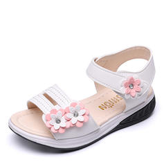 Girl's Peep Toe Leatherette Flat Heel Sandals Flats Flower Girl Shoes With Velcro Flower