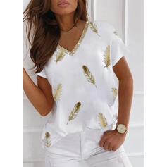 Print Feather Sequins V-Neck Short Sleeves T-shirts