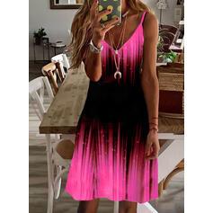 Print/Gradient Sleeveless Shift Above Knee Casual/Vacation Slip Dresses