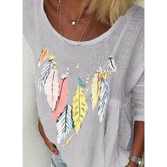 Print Bloemen Ronde Hals Lange Mouwen Dichtknopen Casual T-shirts