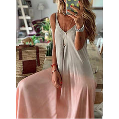 Color Block Sleeveless Shift Maxi Casual/Party Dresses