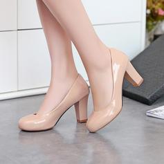 Women's PU Chunky Heel Pumps Closed Toe shoes