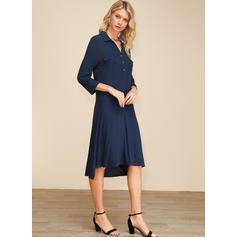 Solid Trekvart ermer Kvinnedrakt Asymmetrisk Casual/Elegant Kjoler