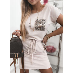 Print Short Sleeves Bodycon Above Knee Casual Dresses